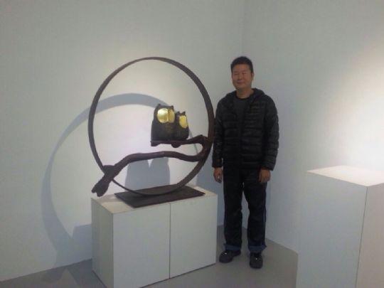 陳新民老師木雕貓頭鷹 樟木 銅 金箔
