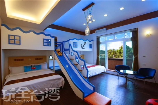 海洋親子溜滑梯6人房