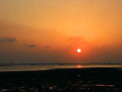 民宿前方就是潮間帶~走在木棧道看夕陽~