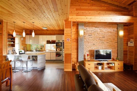 素雅的電視牆及廚房